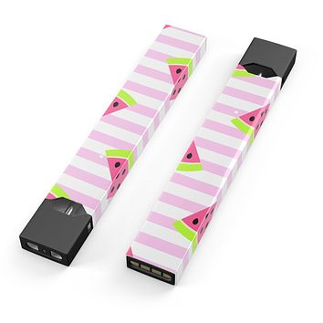Skin Decal Kit for the Pax JUUL - Cartoon Watermelon Over Stripes