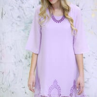 Lace and Lilac Shift Dress