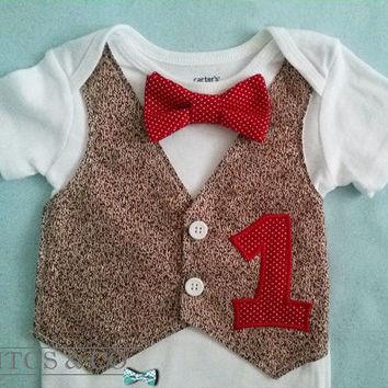Sock Monkey Vest Bodysuit - Baby Bow Tie Bodysuit - Boys First Birthday Outfit - Cake Smash Outfit - Tuxedo Bodysuit