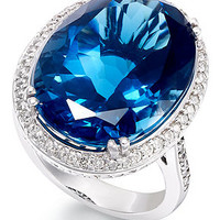 14k White Gold Ring, Blue Topaz (22 ct. t.w.) and Diamond (1 ct. t.w.) Oval Ring - Rings - Jewelry & Watches - Macy's