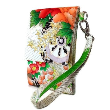 Cell Phone Wristlet, Kimono Silk Wallet Purse, Cell Phone Wallet, Gift For Her, Smart Phone Wristlet, Mobile Phone Wallet, iPhone 6 Pouch