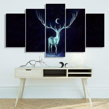 Modern Canvas Art Painting Frame Room HD Print Wall Art 5 Panel Abstract Picture Moonlight Animal Deer Poster Home Decor PENGDA