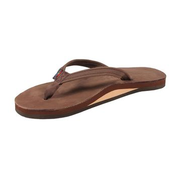 Women's Thin Strap Premier Leather Single Layer Arch Sandal in Expresso by Rainbow San