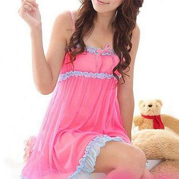 Sexy Sleeveless Babydoll Sleepwear Women V-neck Lace Nightwear Nightgown Ladies Nighties