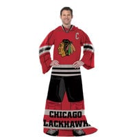 Chicago Blackhawks NHL Adult Uniform Comfy Throw Blanket w- Sleeves