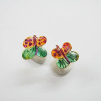 Butterfly stud earrings, Tiny post earrings for kids,sterling silver studs, eco friendly enamels, orange-green-purple colors, spring fashion