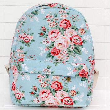 University College Backpack Women sweet Rose Flower printing  children school  shoulder book bags preppy girls canvas s L4-1216AT_63_4