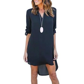 autumn oversized women v neck chiffon dress long sleeve loose mini tunic shirt dress asymmetric front short vestidos lx015