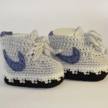 Grey knitted baby booties nike, newborn infant booties 0-12 months, cute booties like