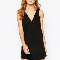 BCBGeneration Shift Dress with Front Pleat in Black