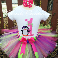 Winter ONEderland - Baby Girl 1st Birthday Tutu Outfit - Penguin - Hot pink, purple and lime green