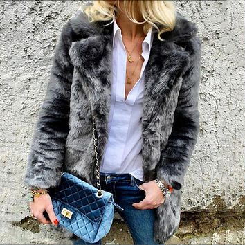 Lapel Collar Solid Color Faux Fur Women Long Teddy Coat