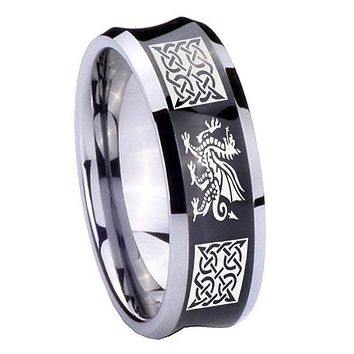 10MM Concave Multiple Dragon Celtic Tungsten Carbide Black IP Two Tone Men's Ring