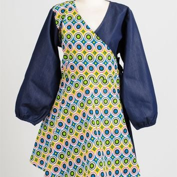 NF 219 Authentic African Print Wrap Dress