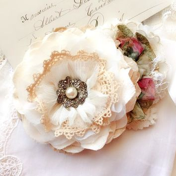 Wedding Dress Sash ~ Vintage Blossom