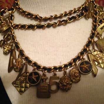 Iconic Chanel Charm Belt Necklace Interwoven Gold Link Chain Black Leather with 21 Charms Representing 8 Icons