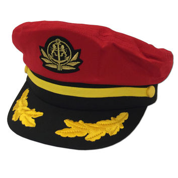 Captains Yacht Boater Hat (Red)