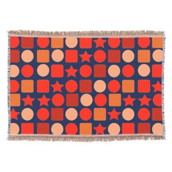 Bright Orange-Red Geometric Throw Blanket