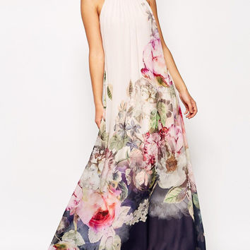 Floral Dress Spring - White Sleeveless Florals Chiffon Maxi Dress