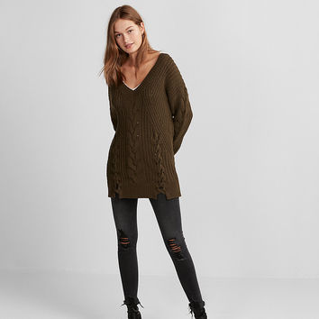 Oversized Cable Knit Tunic Sweater