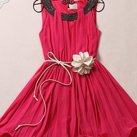 Collect waist chiffon pleated sleeveless dresses from Fanewant