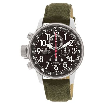 Invicta 1873 Men's I-Force Lefty Black Dial Green Fabric & Leather Strap Chronograph Watch