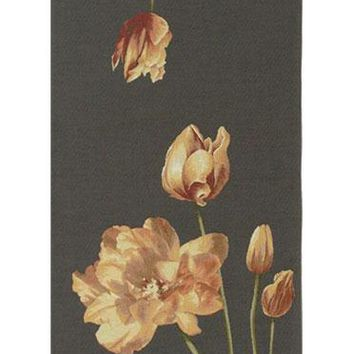 An Armful of Yellow Tulips Grey  French Table Runner