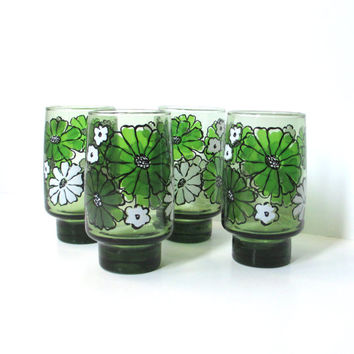 Retro Drinking Glasses - Set of Four Mod Floral Glasses - Libbey Green Glassware