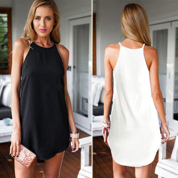 Bear Shoulder O-neck Sleeveless Irregular Short Dress
