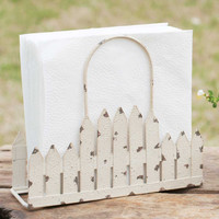 Distressed Farmhouse Picket Fence Napkin Caddy