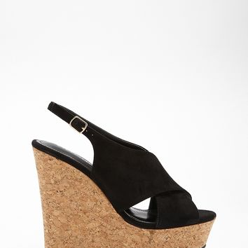 Faux Suede Cork-Wrapped Wedges