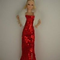 A Red Sequined Gown with Slit in One Side Includes a White Fur Jacket Made to Fit the Barbie Doll