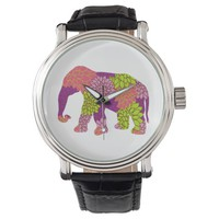 Colorful Flowers Elephant Watches