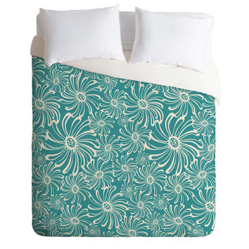 Heather Dutton Bursting Bloom Peacock Duvet Cover
