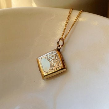 Vintage engraved  gold locket, small square locket necklace