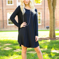 Piko Trapeze Dress - Black