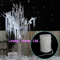 30M/99Ft Roll 10mm Acrylic Faux Crystal Garland Bead Diamond Strand Wedding Hanging Centerpiece Decor = 1932496772