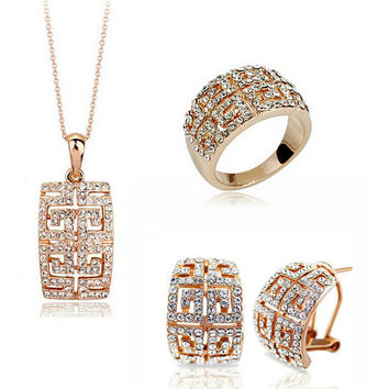 Luxury Austrian Crystal Necklace Sets Earring Ring Bridal CZ diamond Wedding Jewelry Sets Parure Bijoux Mariage Femme Taki Seti