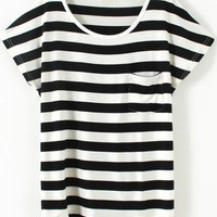 Black and White Striped Short Sleeve Pocket T-Shirt