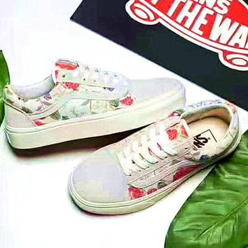"""Vans"" Casual Women Shoes White red flower print"