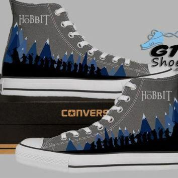 DCKL9 Hand Painted Converse Hi Sneakers. The Hobbit. Gandalf, Bilbo Baggins, Thorin, Balin,