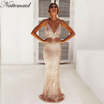 NATTEMAID Shining Party Sequin Dress Women Maxi Backless Sexy Dress Elegant V Neck Club 2018 Merry Christmas Dress Vestidos