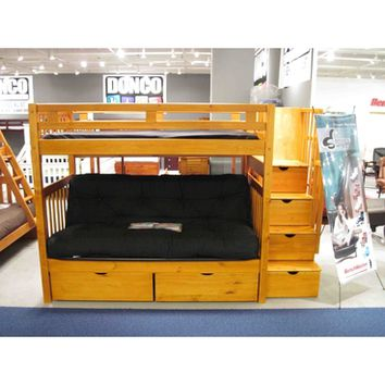 Donco Twin Over Futon Stairway Bunk Bed - Honey 200/300