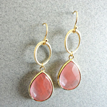 Large teardrop stone earrings, Strawberry quartz drop earrings, Anthropologie inspired