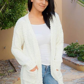 Charm Me White Chunky Knit Long Open Cardigan Sweater