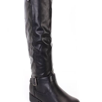 Black Strappy Knee High Riding Boots Faux Leather