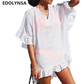 DCCK7N3 Bamboo Cotton Beach Cover up Swimwear White Swimsuit Robe de Plage Sarong Beach Poncho Beachwear Coverups Saida de Praia #Q317
