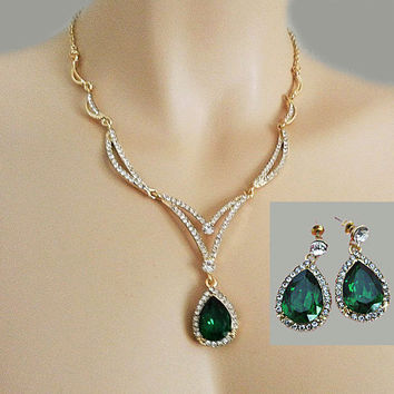 Green Rhinestone Necklace, Emerald Jewelry Set,  Green Bridal Jewelry, Green Bridesmaid Jewelry Set