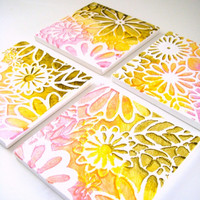 On Sale - Save 15% off - Ceramic Coasters Flowers Painted Ombre Art Tiles Metallic Pink Orange Yellow Moss Green Cyber Monday