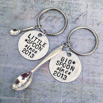 Big Spoon Little Spoon Customized Keychains - Couple Keyrings  Boyfriend/Girlfriend Accessories - Anniversary Accessories - Lovers Jewelry